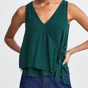 Green wrap blouse tank